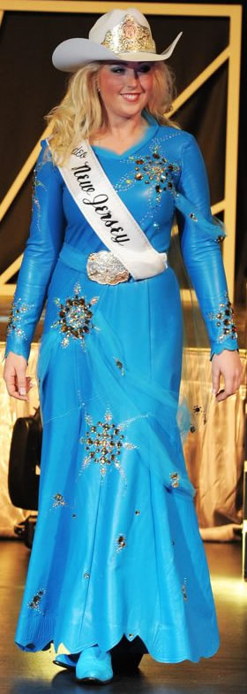 Amanda Thompson, Miss Rodeo New Jersey, wearing a Malibu blue lambskin dress