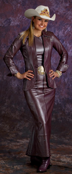 Amy Wilson, Miss Rodeo America 2008, wears a 3 piece mauve pearlized lambskin ensemble