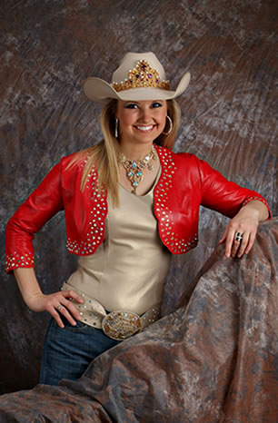 Amy Wilson, Miss Rodeo America 2008 wears a red lambskin bolero with a champagne pearlized lambskin camisole and matching belt