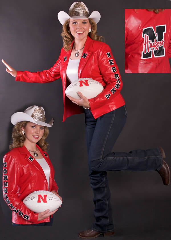 Amay Amack, Miss Rodeo Nebraska 2009 wears a Nebrask Red Lambskin Jacket