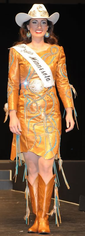 Ashley Fuch, Miss Rodeo Minnesota wearing a copper peralized leather dress