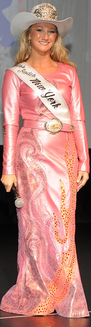 Chelsea Kijek, Miss Rodeo New York in a rose pearlized lambskin dress