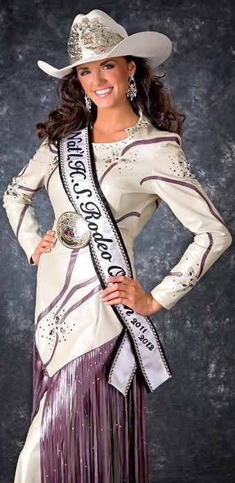 Dakota Passey, Nat'l High School Rodeo Queen 2011-2012 wears a dress made from D'Anton Leather.