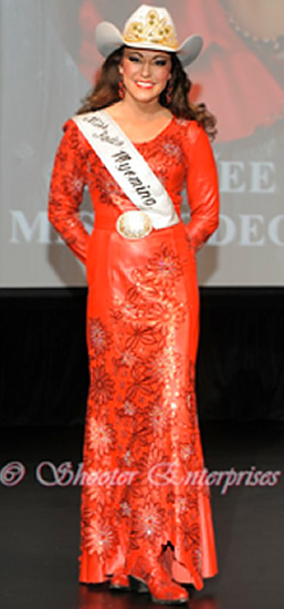 Desiree Bridges  Miss Rodeo Wyoming 2014, wearing fire red lambskin dress