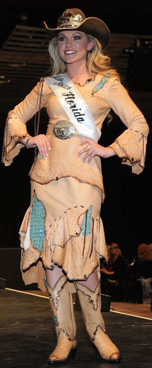 Devon Firestone, Miss Rodeo Florida wearing a natural lambskin dress
