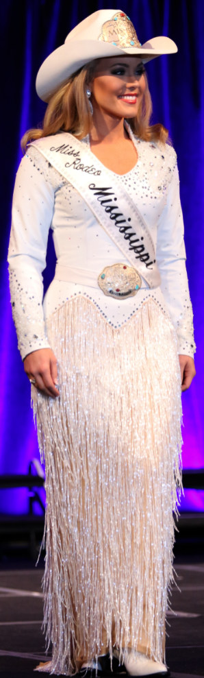 Emma Jumper, Miss Rodeo Mississippi 2017, wearing white lambskin leather