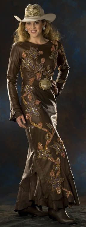 Jessica West, Miss Rodeo Washington 2006 wears a brown Santa Fe gaucho lambskin dress