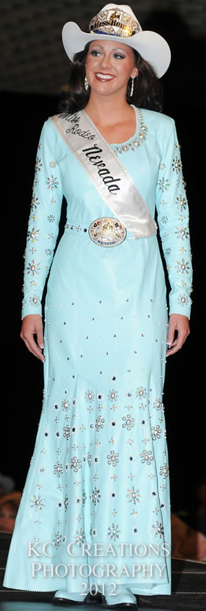 Kayla Roundy, Miss Rodeo Nevada 2012 in a robin's egg blue lambskin dress