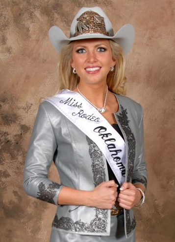 Lauren Heaton, Miss Rodeo America 2015, wears a grey lambskin jacket