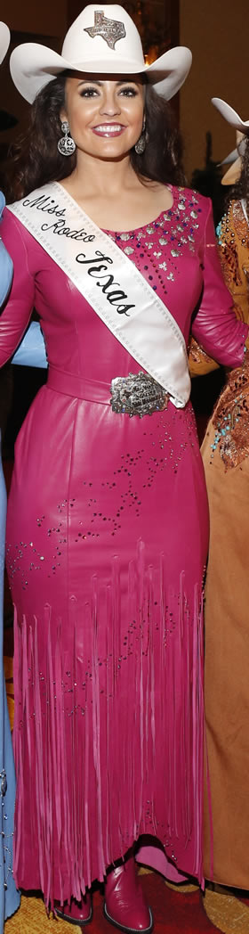 Nikki Woodward, Miss Rodeo Texas wearing a dark fushia lambskin dress