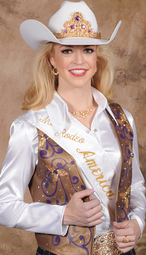 Katherine Merck, Miss Rodeo America 2016, wearing a pearlized bronze lambskin leather vest