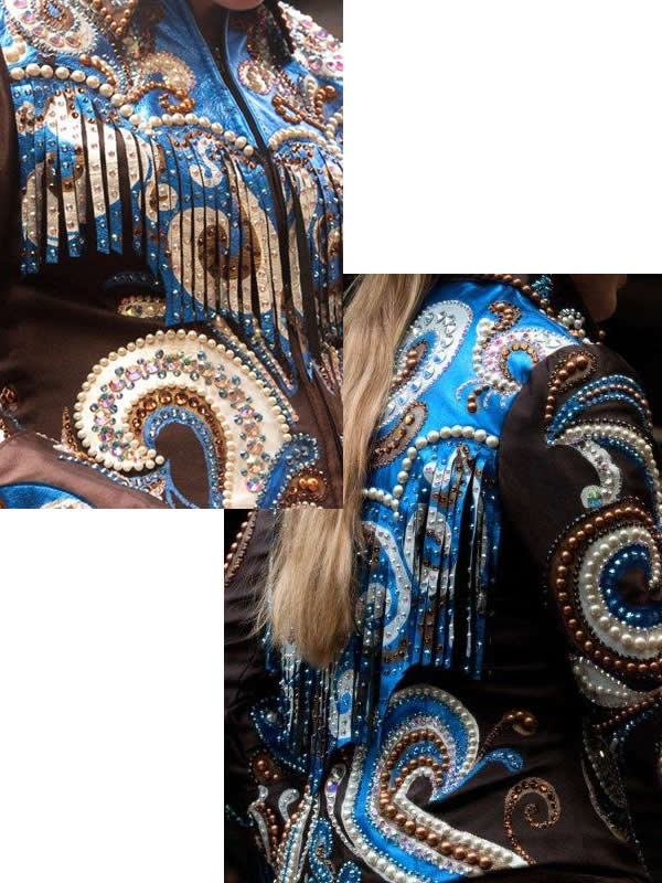 horsemanship jacket is trimmed with royal, gold, and bronze metallic leather