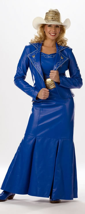 Jessica Crouch, Miss Rodeo Washington 2008 wears a royal blue lamskin dress