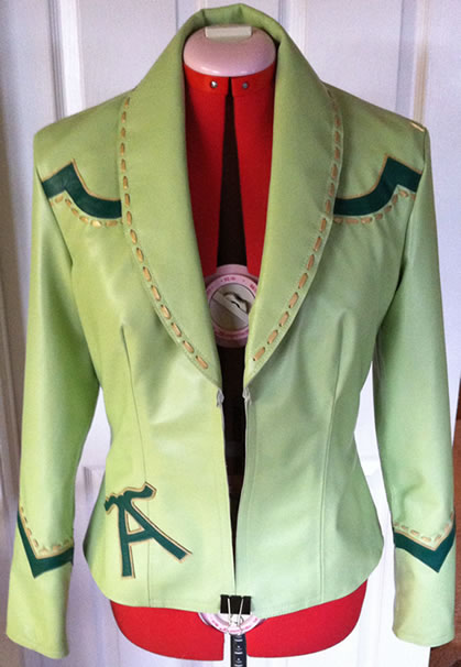 mint lambskin jacket with emerald lamb and gold metallic leather appliques
