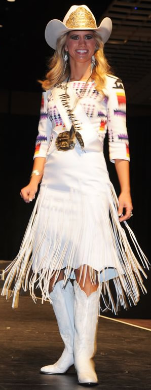 Miriah Lehmann, Miss Rodeo Wisconsin, wearing a white lambskin dress
