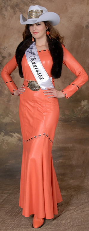 Morgan Blackhurst, Miss Rodeo Tennesse, wearing a coral lambskin dress