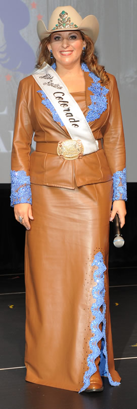 Rhianna Russell, Miss Rodeo Colorado, wearing a suit of cognac lambskin