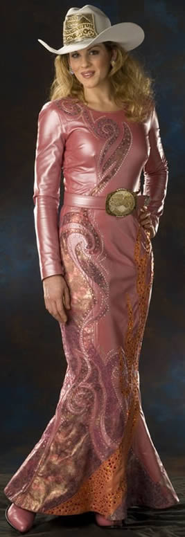 Jessica  West, Miss Rodeo Washington 2006 wears a rose pearlized lambskin dress