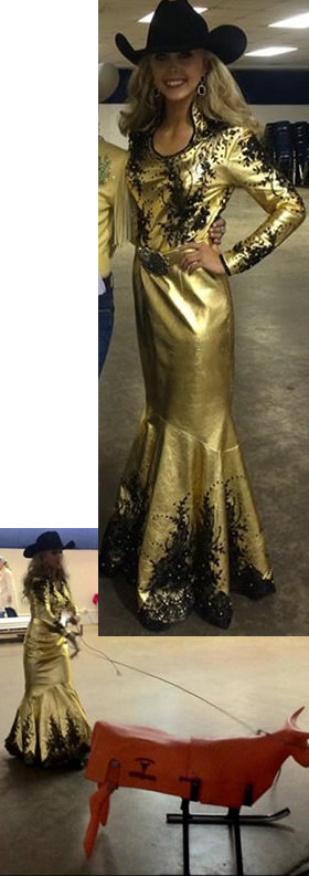 Brighlon Jones in a shiny gold metallic leather dress