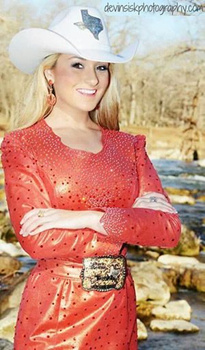 Stephanie Revels, Miss Rodeo Texas in red leather dress