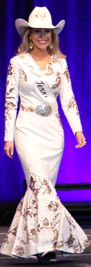 Tianti Carter, Miss Rodeo  Miss Rodeo Texas 2017 in a white lambskin dress with Savina gold leather appliques