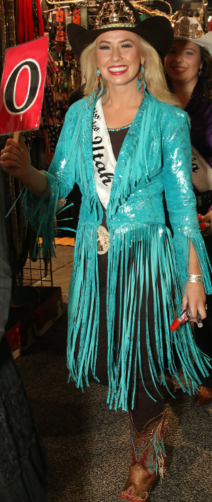 "Carly Peercy Miss Rodeo Utah 2018 wearns a turquoise ""duet"" leather fringed jacket"