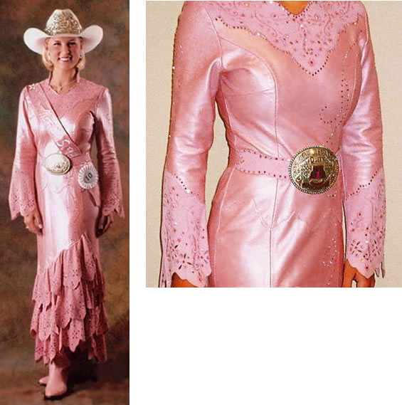 Emily Aldredge, National High School Rodeo Queen 2004/2005, in a pink peony pearlized lamskin dress