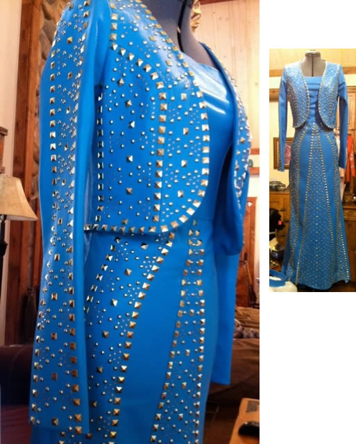royal blue lambskin dress with jacket